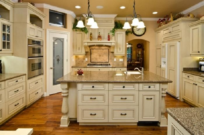 Antique White Country Kitchen Cabinets Like the color of the Counter ...