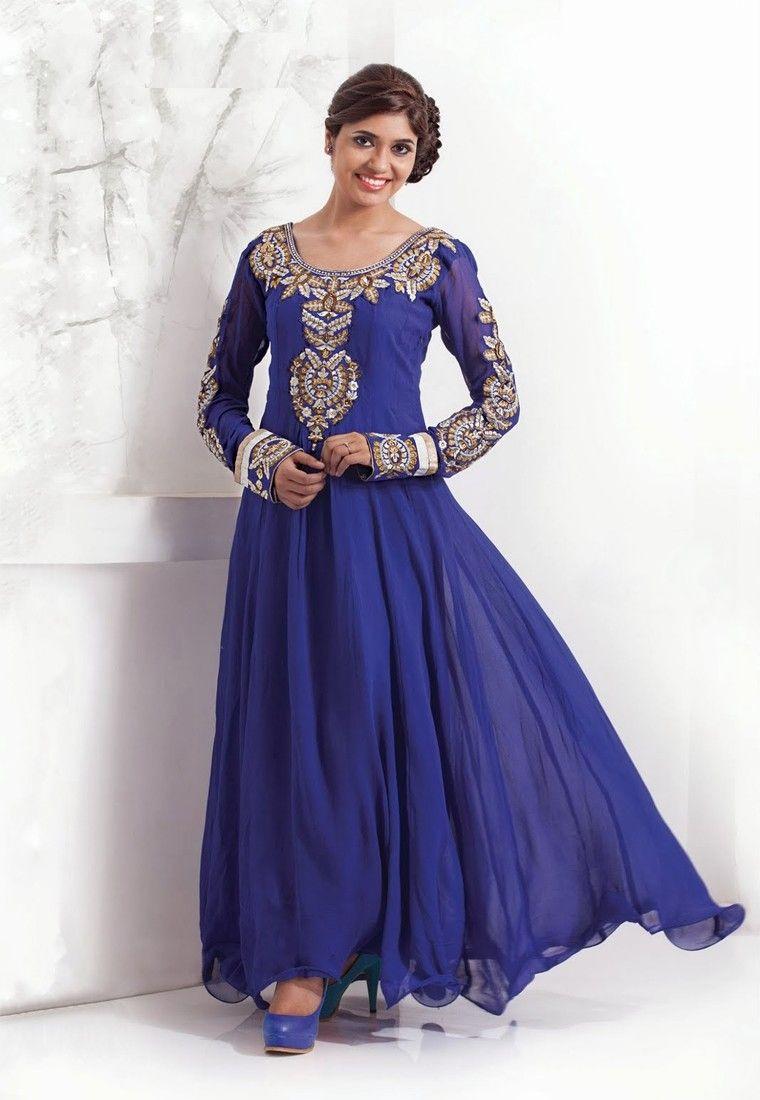 Blue Color Georgette-Santoon Designer Anarkali suit   Ethnic ...