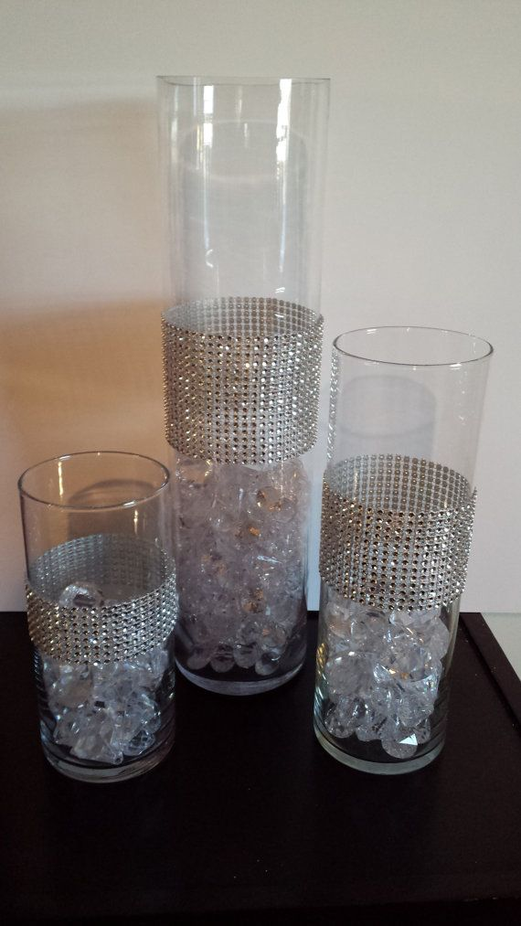 Rhinestone Bling Cylinder Vase Set 3 Centerpiece On Etsy 3500