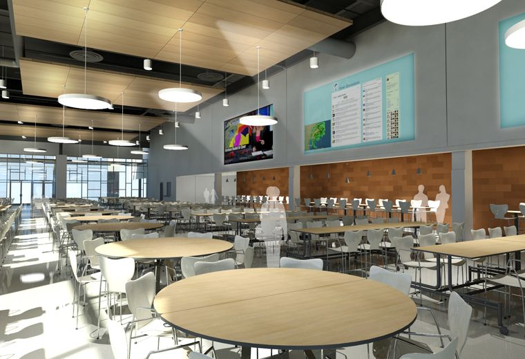 Dover high school cafeteria media wall spaces
