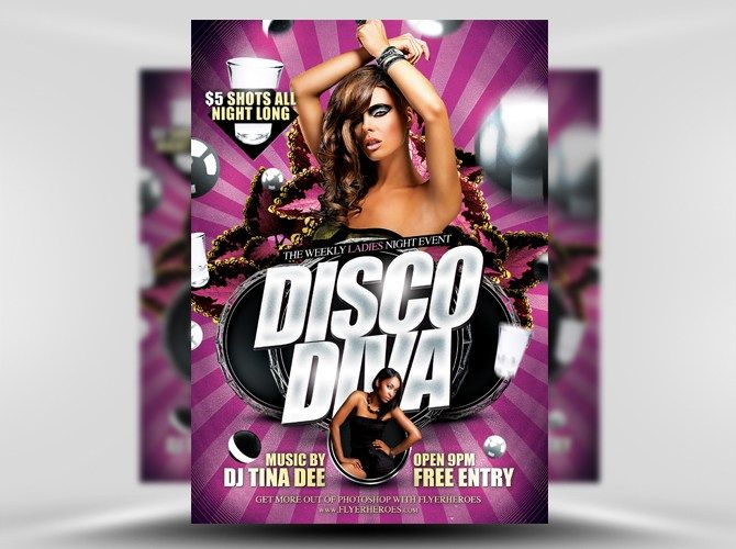 Disco Diva Free Flyer Template  Photography Marketing