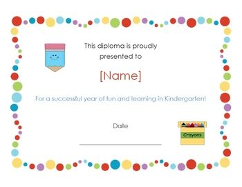 This Is An Adorable Certificate For Your Little Graduates