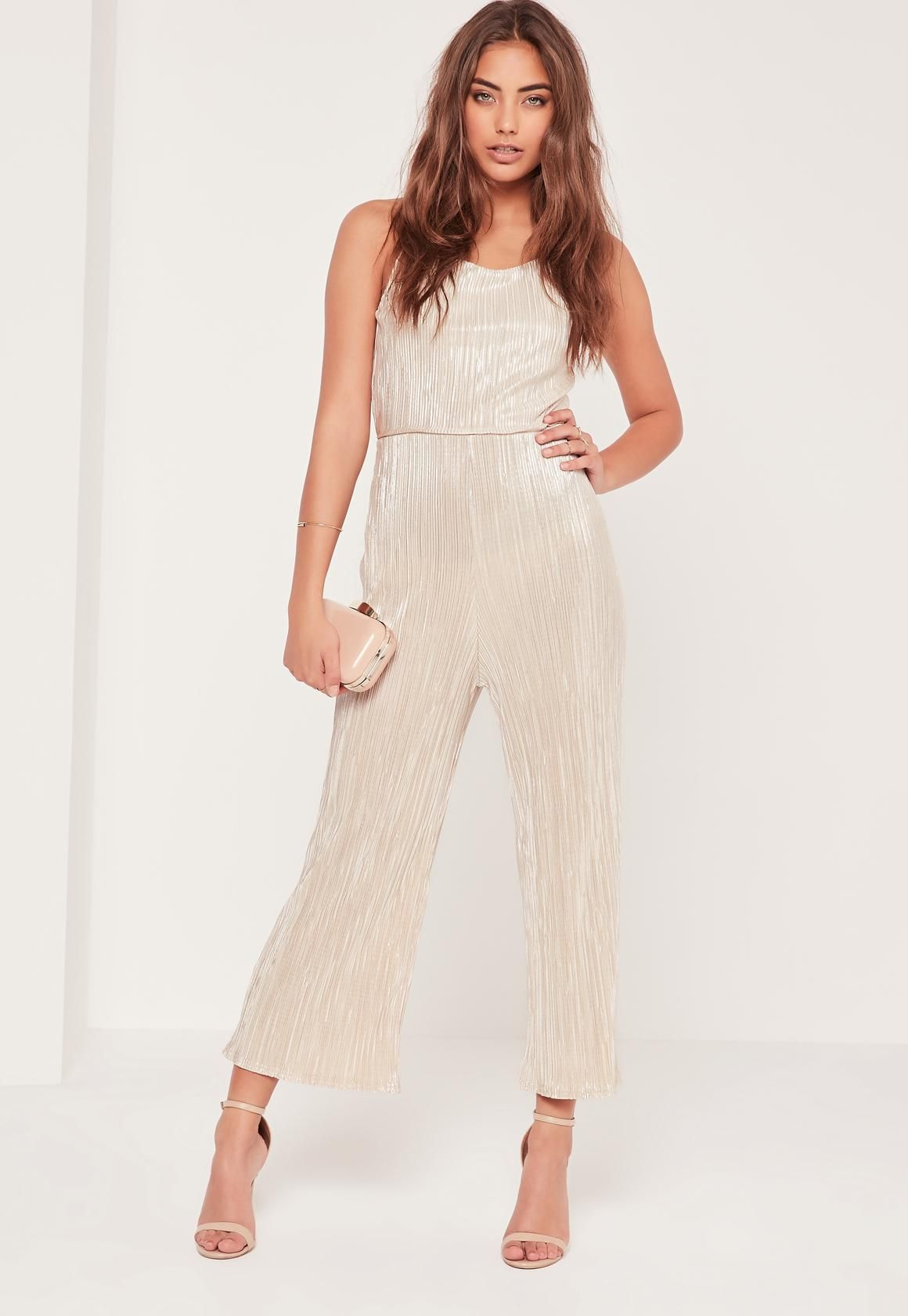 d878ba5f79a Missguided - Pleated Strappy Back Culotte Jumpsuit Nude
