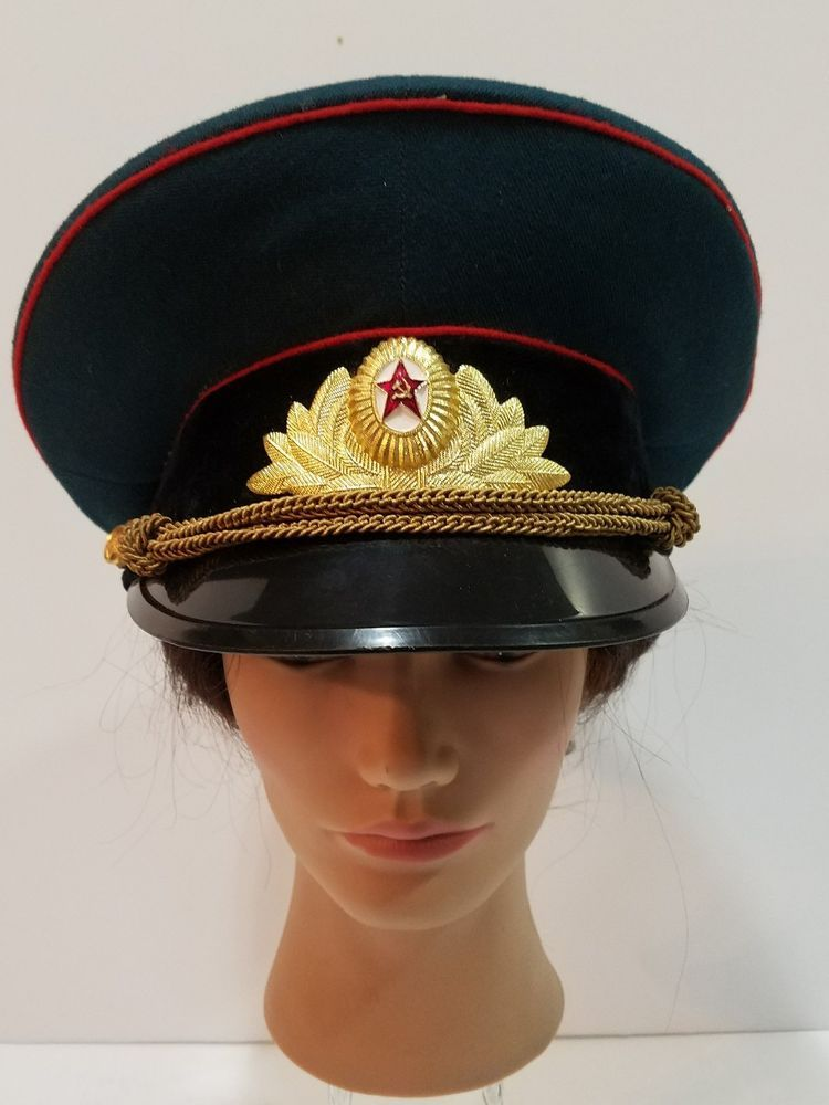 f4ee7d525d0c6 Original Vintage Soviet Russian Army Officer s Visor Cap Hat Military USSR  55