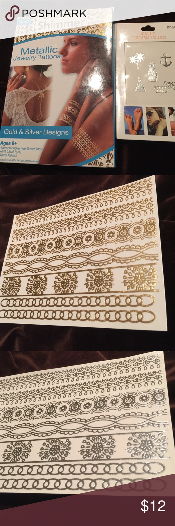 nwt 75 metallic tattoos nwt | d, accessories and shopping