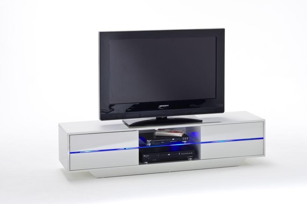 Banc Tv Blues Verre Blanc White Tv Stands Led Lights Media Stand