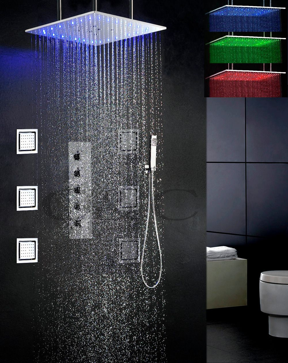 Swash And Rain Bathroom Led Shower Set 4 Water Functions Work Together Or Separately 20 Inch 3 Colors Le Shower Faucet Sets Shower Faucet Bathroom Shower Heads [ 1261 x 1000 Pixel ]