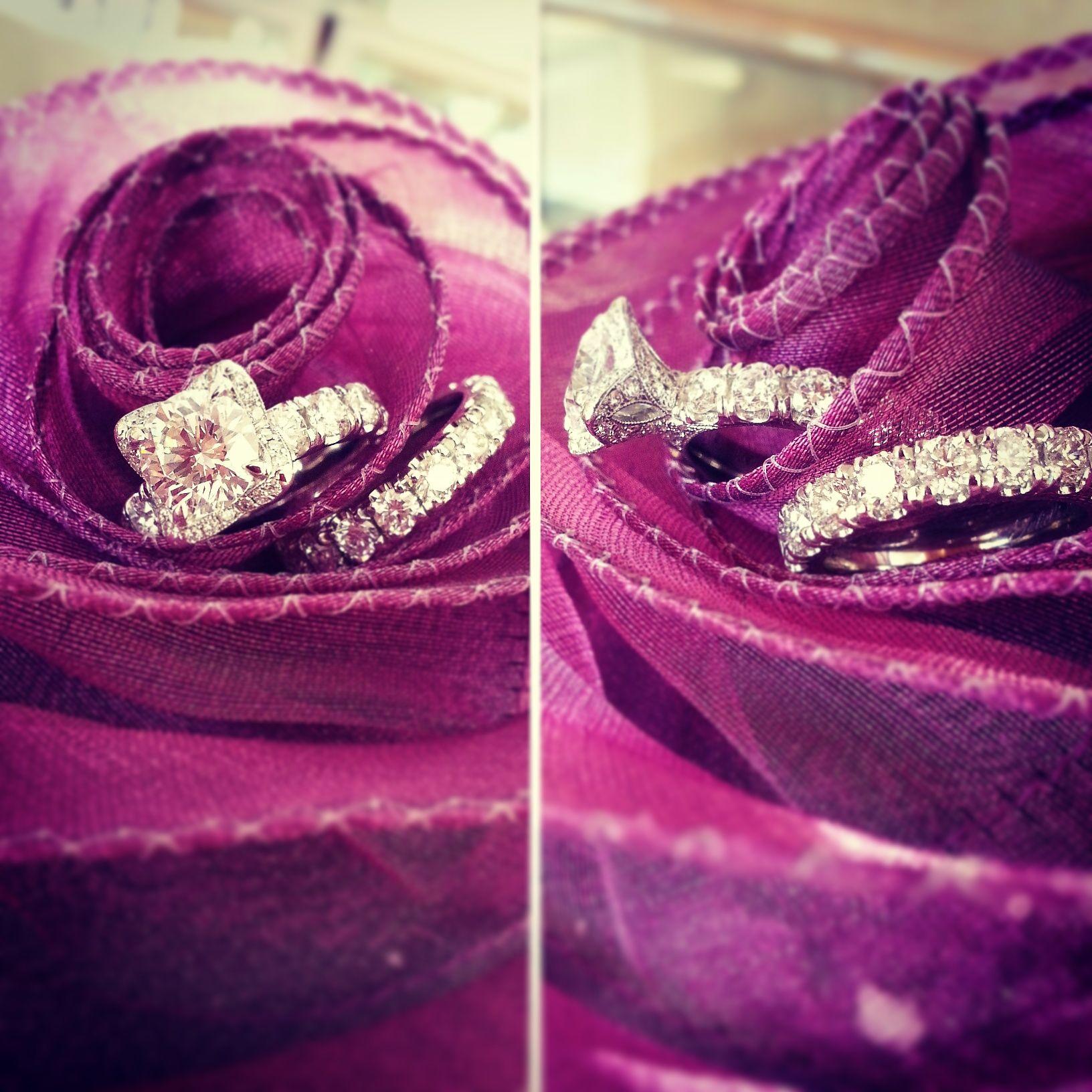 Bridal set by Katharine James, available at Calvin's in Austin. #diamond #platinum #engagementring #halo