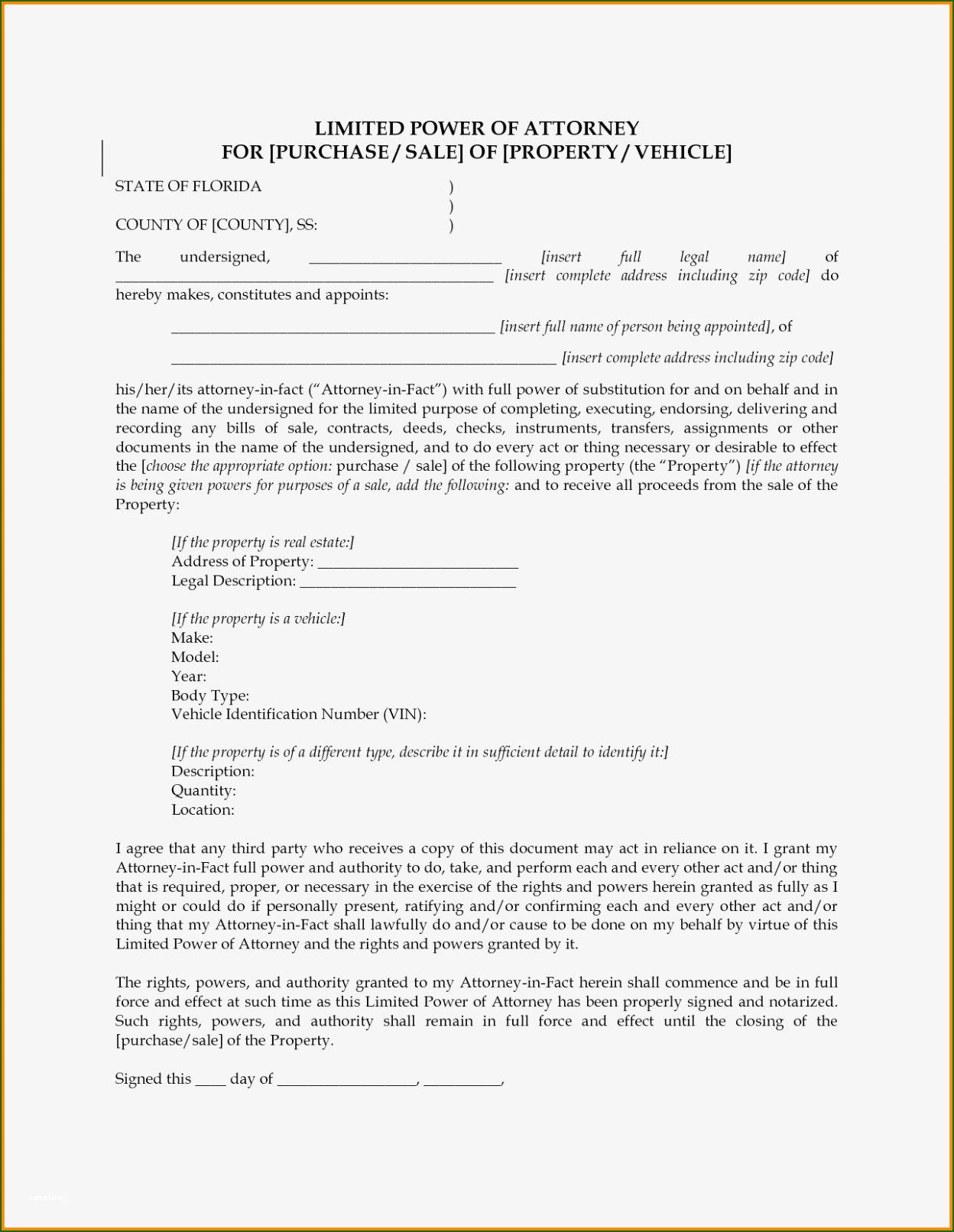 12 Unparalleled Limited Power Of attorney Template Power