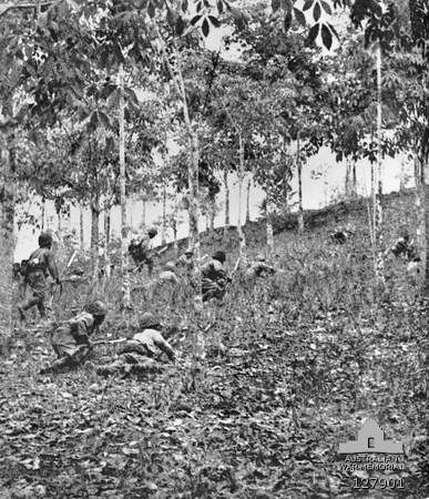 Japanese Troops Assaulting Bukit Timah Hill Under Allied Fire