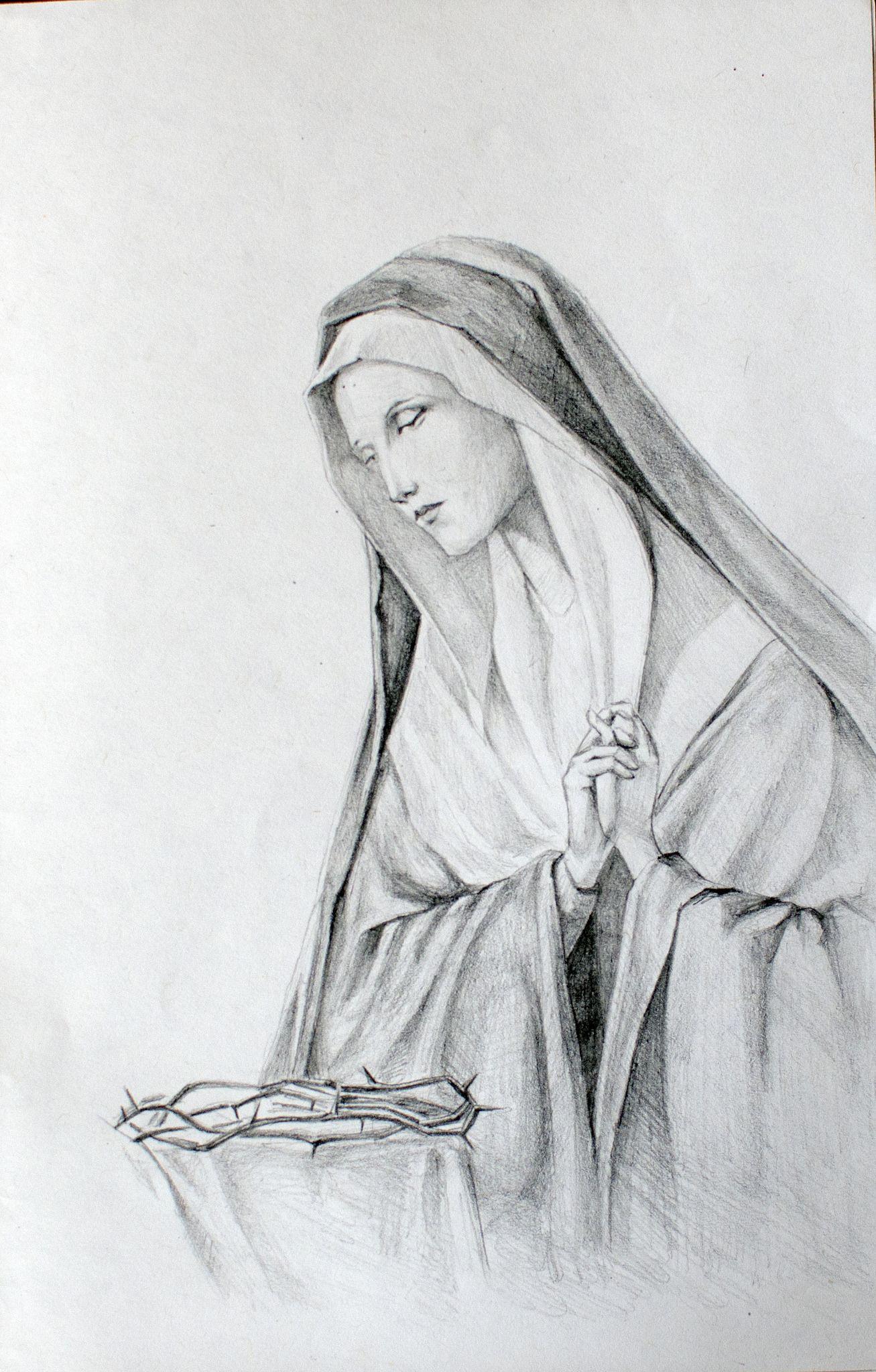 https://flic.kr/p/EXpvqY | Virgin Mary, pencil portrait by Kirillnbb