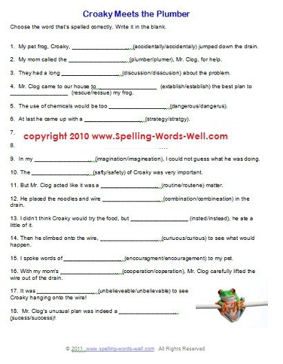 Free Printable Spelling Worksheets For Grade 2