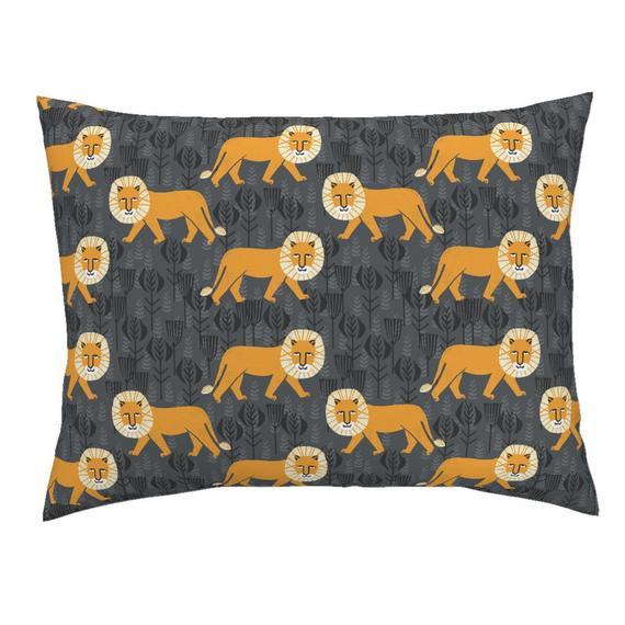 Orange Lion Pillow Sham - Lion On Turmericcharcoal by andrea_lauren - Orange Grey Safari Cotton Sate