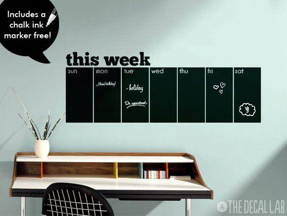 weekly wall decal chalkboard calendar - free chalk ink marker
