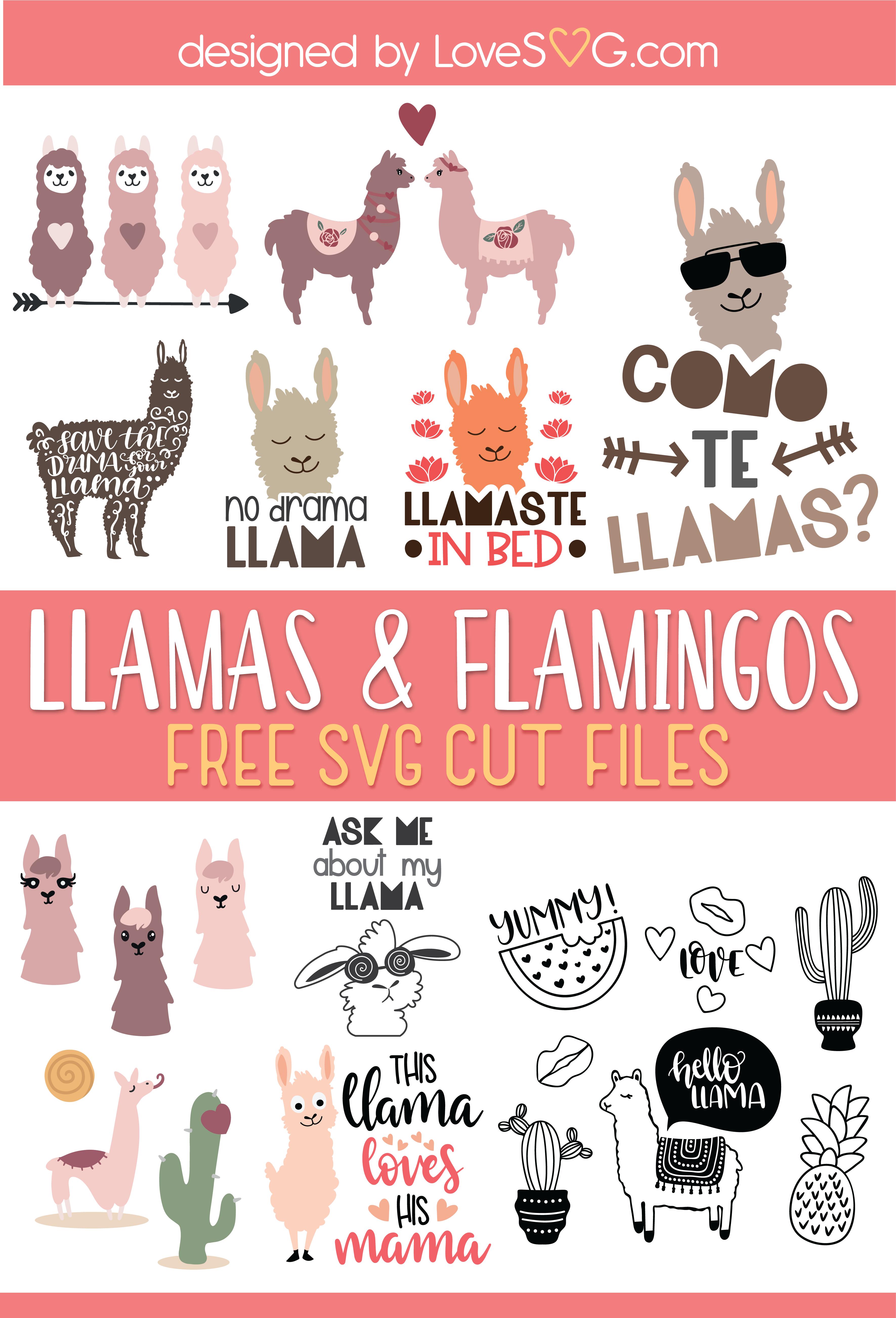 Free Llamas, Flamingos, and Elephants SVG Cut Files