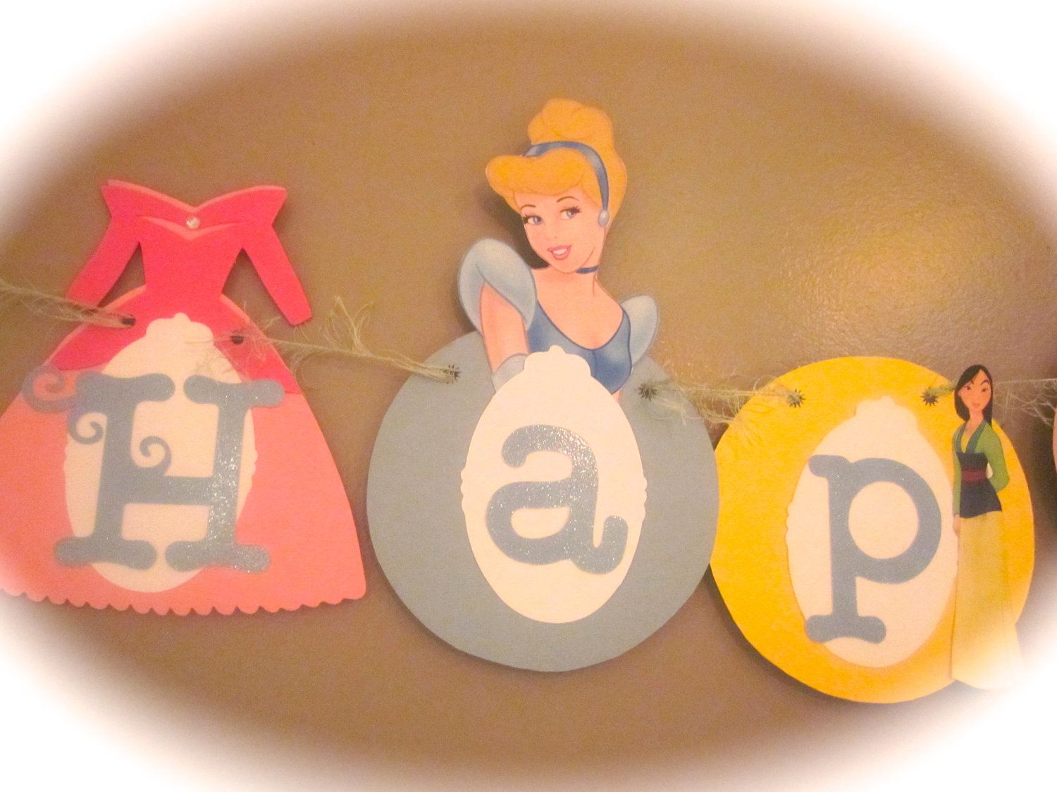 Happy 1st Birthday banner Disney princess party cinderella snow