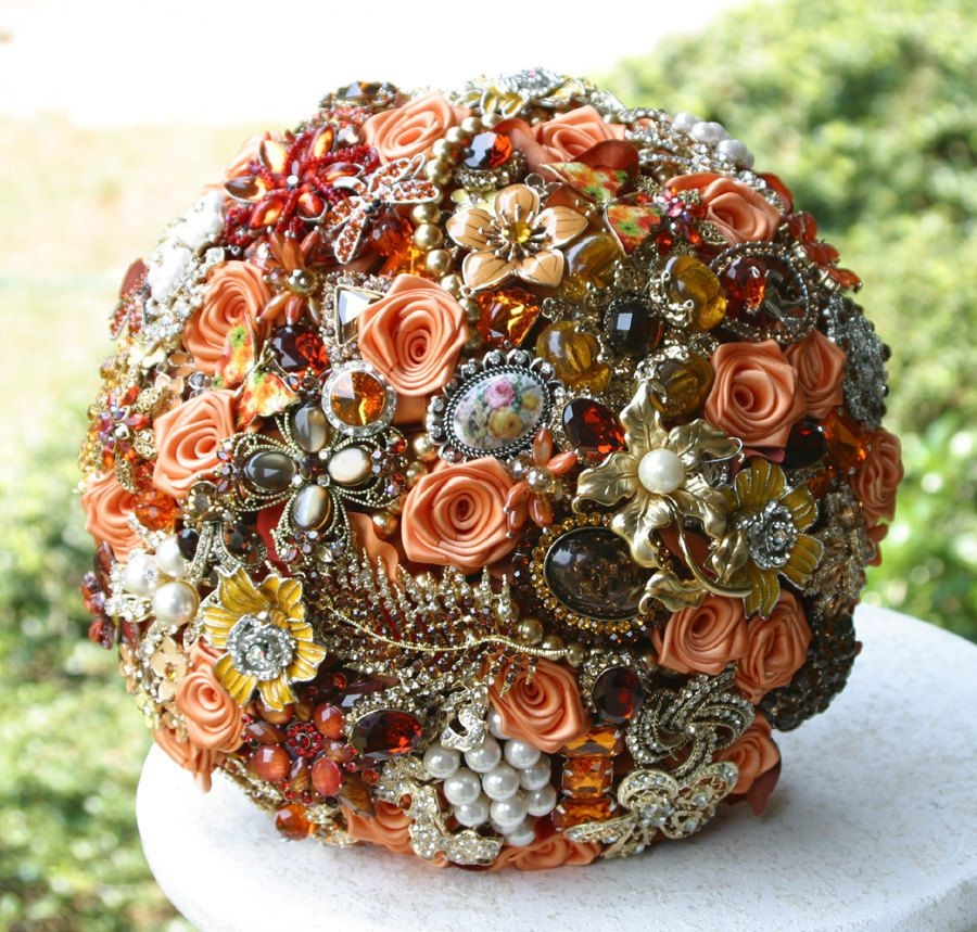 Autumn Brooch Wedding Bridal Bouquet - Deposit - Made to order Heirloom bouquet. $75.00, via Etsy.