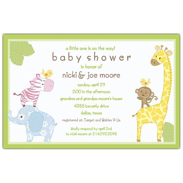 Baby Jungle Green Shower Invitations 50 for $85 at www.paperstyle.com *matching labels are available