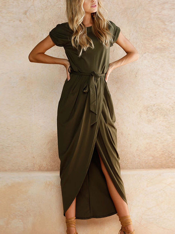 Army green tie waist short sleeve maxi wrap dress ii choies