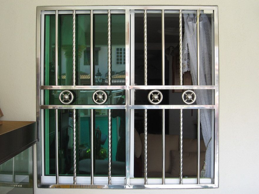 Stainless window grill window grills pinterest for Window design grill