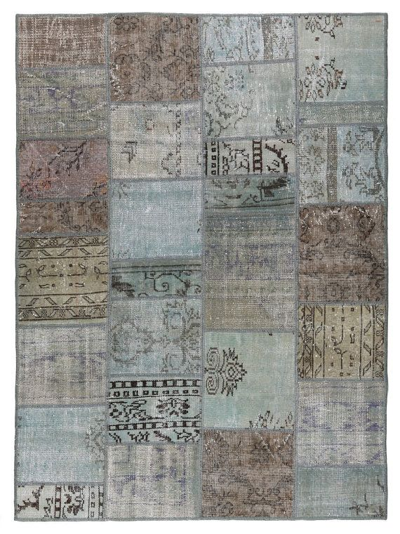 Rug 76x55 Inches Carpet Turkish Vintage Patchwork Geometric Light Gray Color Oriental Antique Kilim
