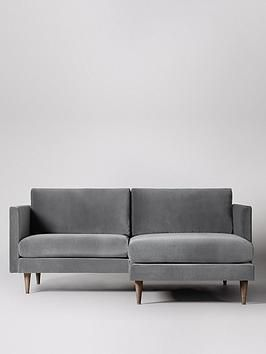 Swoon Tivoli Fabric Right Hand 2 Seater Corner Sofa In Silver Grey