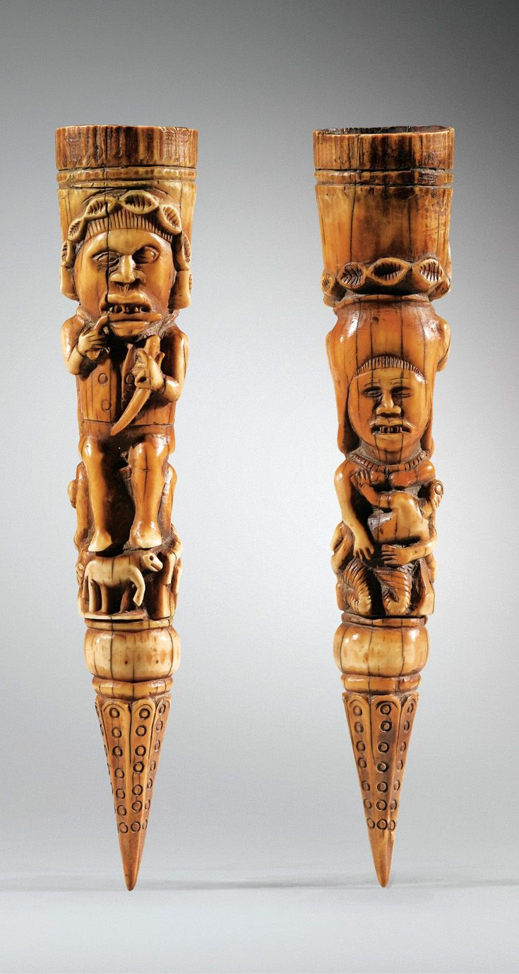 Africa | Sceptre from the Kongo people of DR Congo | Ivory; reddish brown patina | ca. 18th century