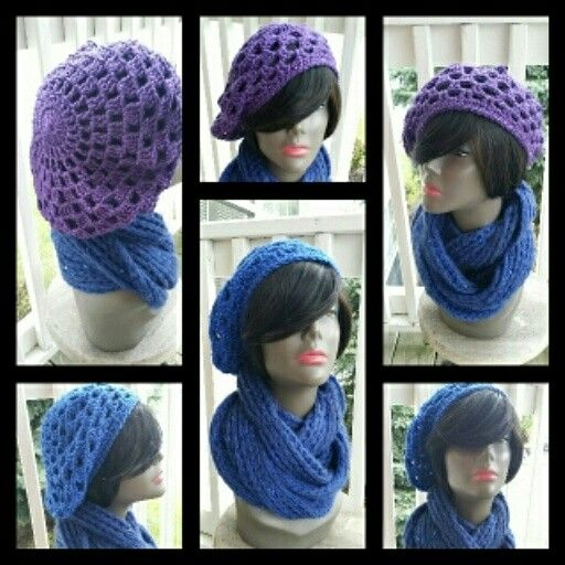 Hot Off My Hook! I Used Caron Simply Soft Party Yarn In Colors Royal Sparkle & Purple Sparkle To Create These Sunburst Berets!