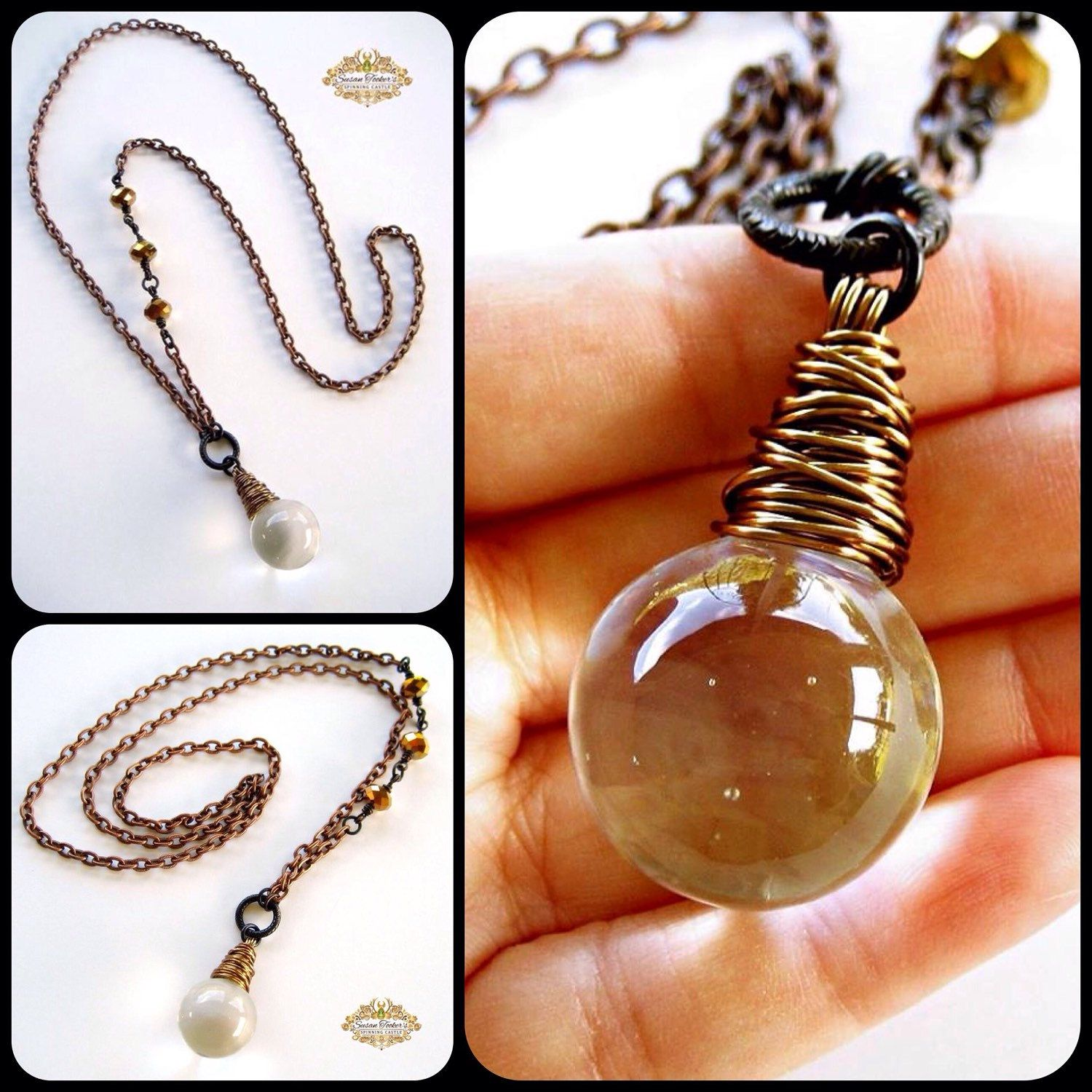 FORTUNE TELLER is a long statement necklace that features a large, antique chandelier crystal and faceted crystal beads. The crystal sphere pendant was wrapped with copper wire and is accented with a large, etched ring.