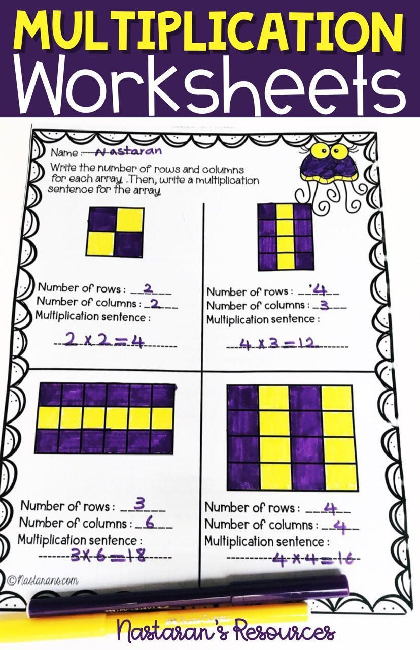 Multiplication worksheets 3rd Grade Arrays,Repeated