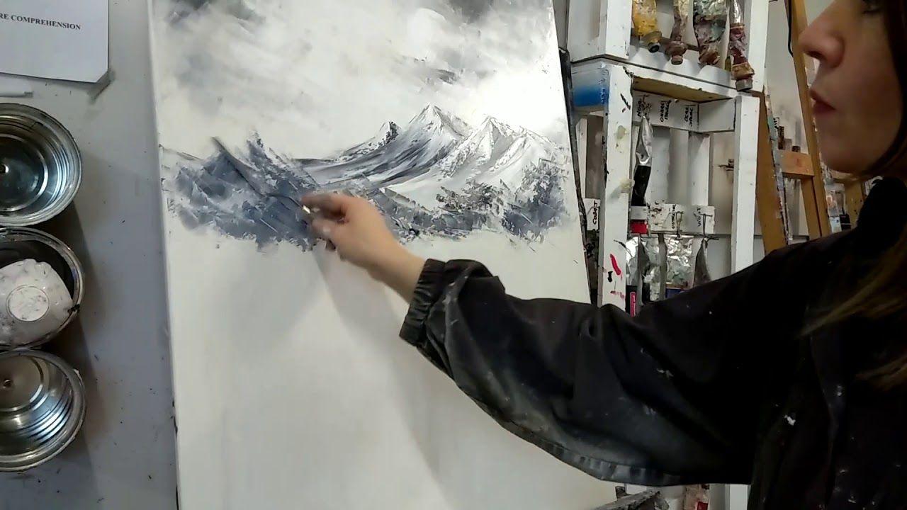 Démonstration De Peinture Au Couteau Cascades Dans Les Pyrénées