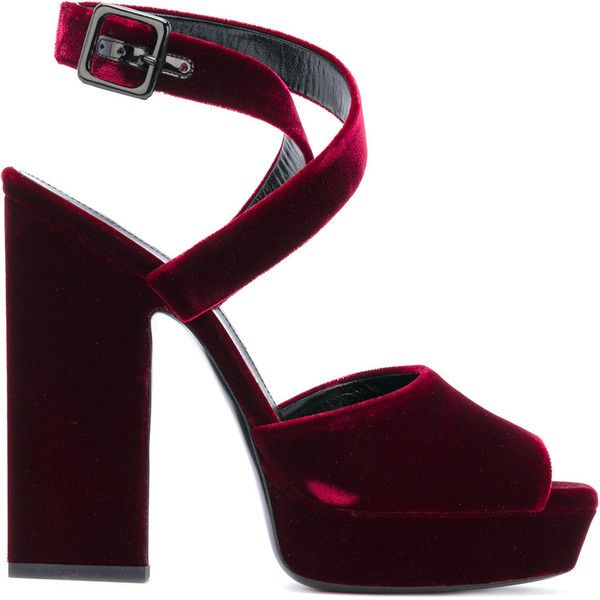 Saint Laurent Debbie Sandals 57 105 Rub Liked On Polyvore Featuring Shoes Sandals Heels Red Red Platform Sandals Ankle Strap Platform Sandals Open Toe