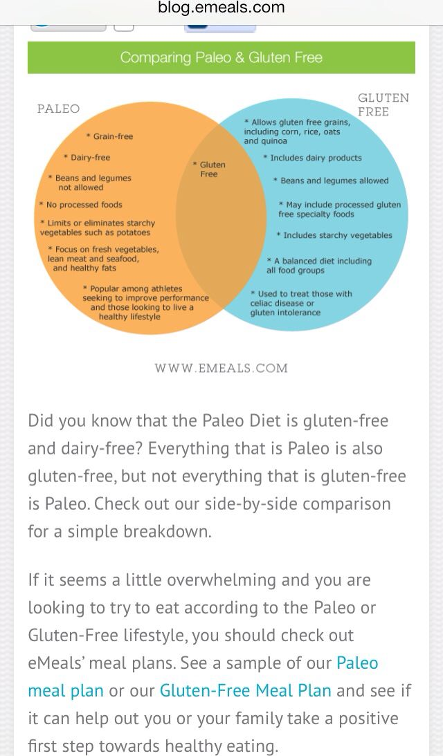 Paleo vs gluten free chart health lifestyle changes eating clean food