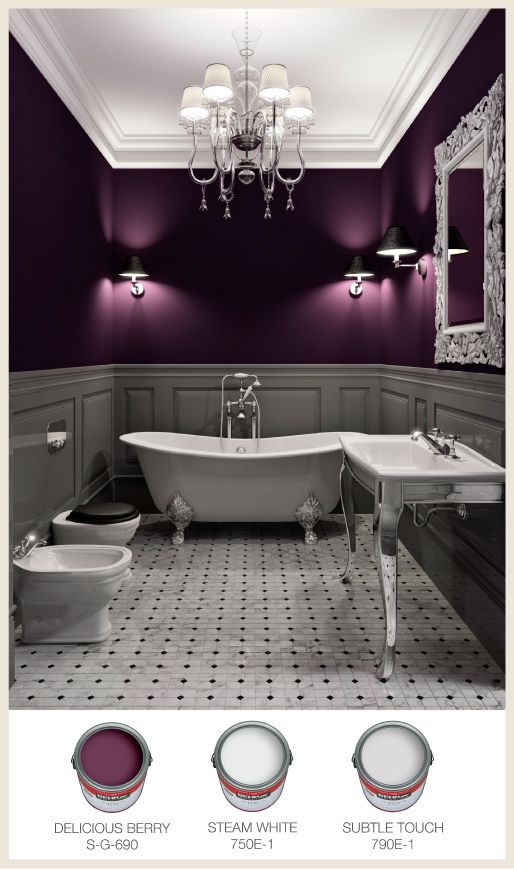 This Dreamy #bathroom Has Unique Lighting To Cast Interesting Shadows.  #BEHRPAINT #Color