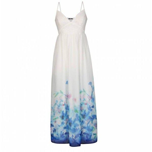 Ally Fashion Border hem crochet bust maxi dress ($45) ❤ liked on Polyvore featuring dresses, print, patterned maxi dress, white print dress, white crochet dress, print dress and white day dress