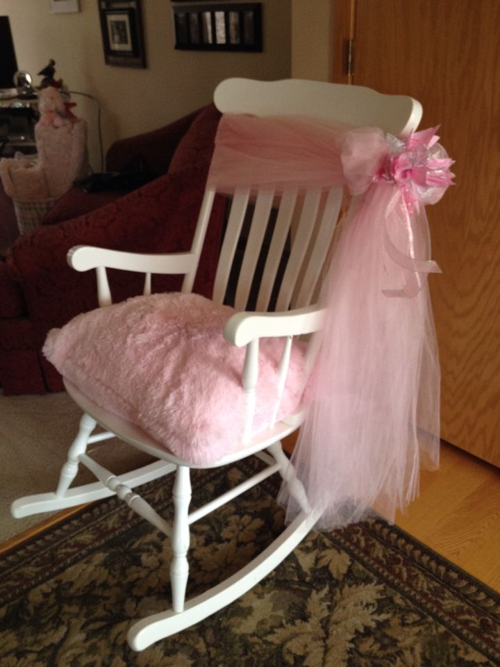 Little Girl Rocking Chair Round Cushion Baby Shower New Mothers Cute Decorating Ideas