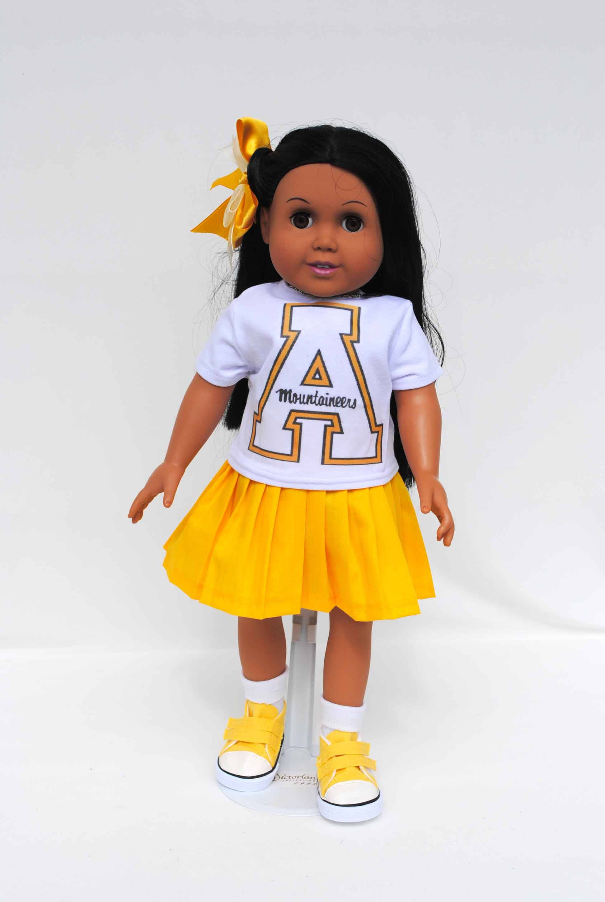 Sports Team Outfit Appalachian Cheerleader Yellow Skirt White Tshirt like American Girl is part of Yellow Clothes Christmas Gifts - Appalachian Cheerleader sports team outfit costume for 18 inch American Made Girl Doll, Yellow Skirt, White Tshirt, Sneakers, Journey Girl, My Life, Our Generation Yellow Pleated skirt White Tshirt shoes Panties The item in the picture will be the item you receive  Doll clothes were sewn in a pet and a smoke free environment  The doll and hair accessories (unless listed) is not included in this listing  Doll Clothes Designs Co  is no way affiliated with American Girl or Mattel Inc  ® If you have any question please feel free to contact me at any time  Thanks so much for looking and I hope you find something you love  Hand wash and line dry