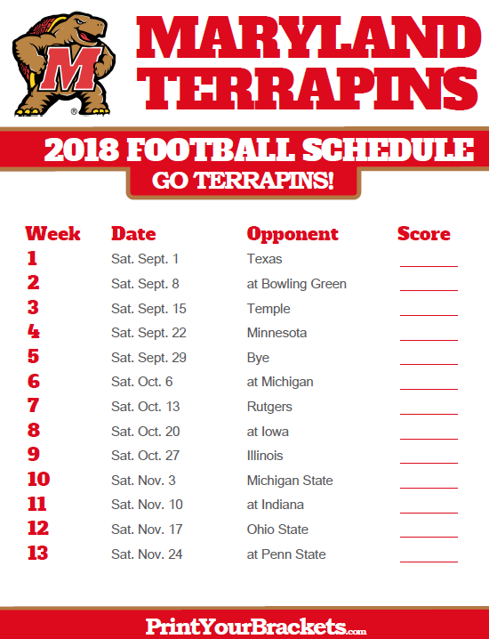 graphic relating to Ohio State Football Schedule Printable known as 2018 Printable Maryland Terrapins Soccer Program