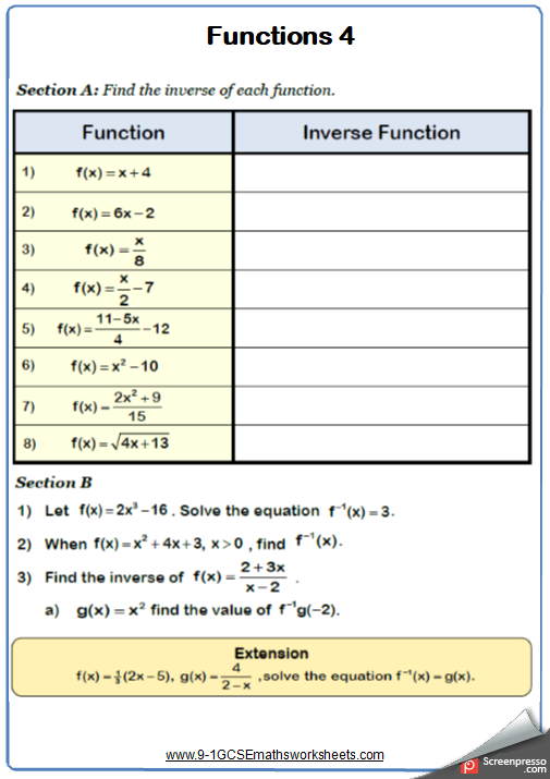 Functions Maths Worksheet Functions Math Math Worksheet Math Examples