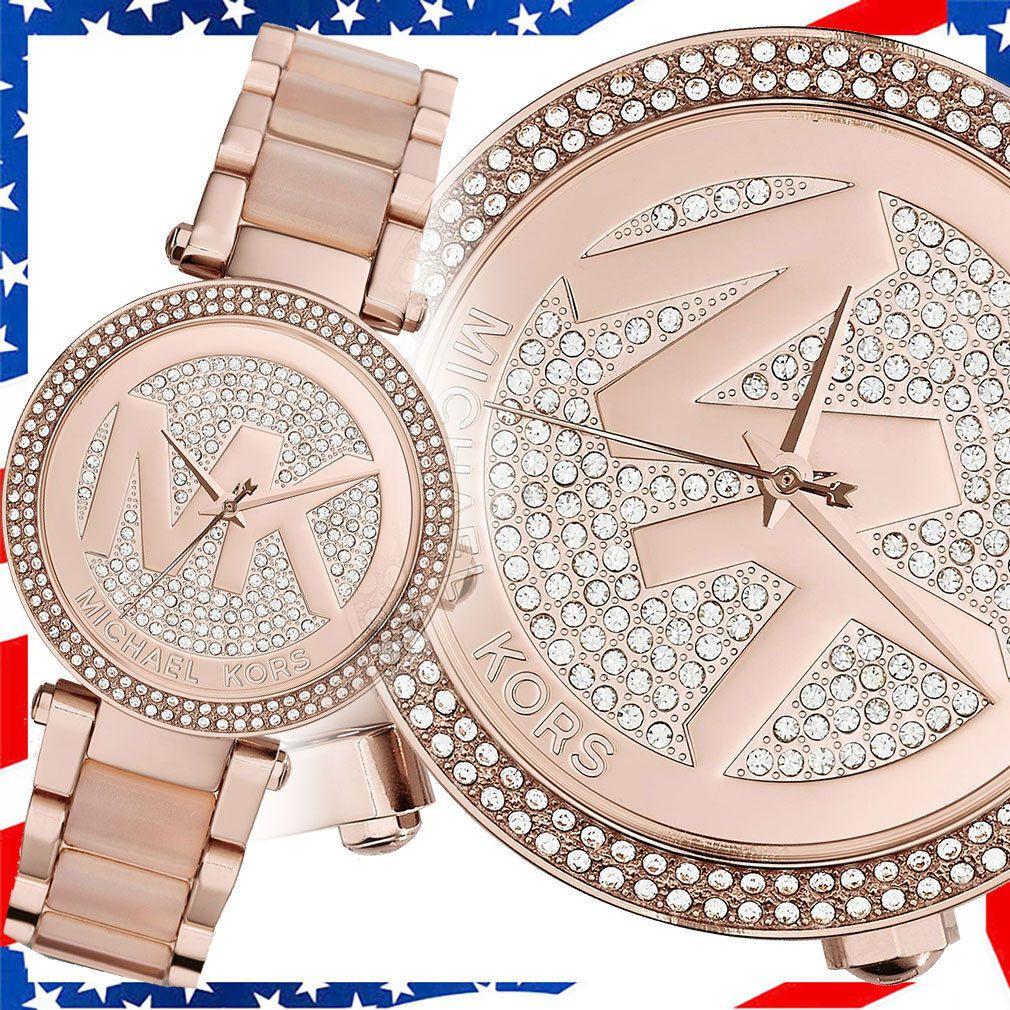 2b1946ef8f2 NEW Michael Kors Parker Rose Gold Blush Pave Crystal Logo Dial MK6176 Lady  watch
