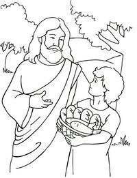 jesus feed 5000   Sunday school coloring pages, Jesus ...