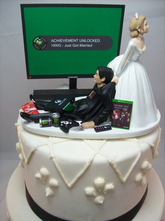Video Game Achievement Unlocked Engagement Marry Funny Wedding Cake Topper Gamer Junki Funny Wedding Cake Toppers Funny Wedding Cakes Wedding Cake Topper Gamer