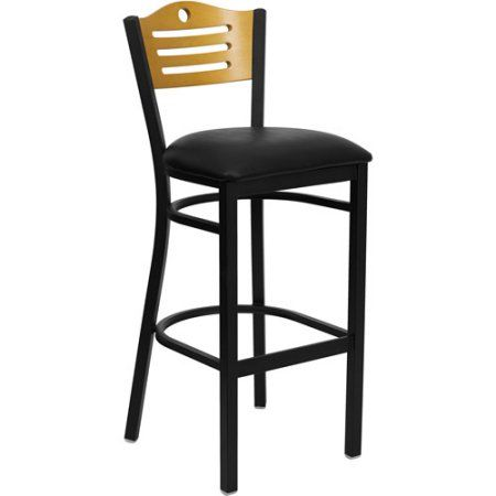 Metal Cut Out Bar Stool 32 Inch Black And Natural