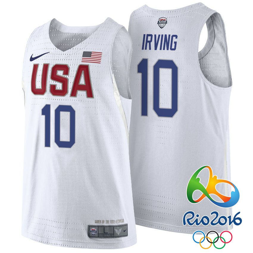 b1e7c43dc3 Rio 2016 Olympics USA Dream Team  10 Kyrie Irving White Basketball Jersey