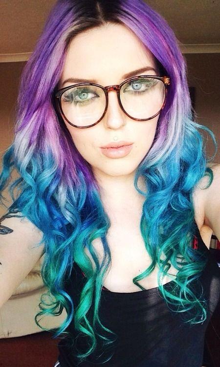 Purple Green And Blue Hair Blue Green Hair Green Hair Ombre Hair