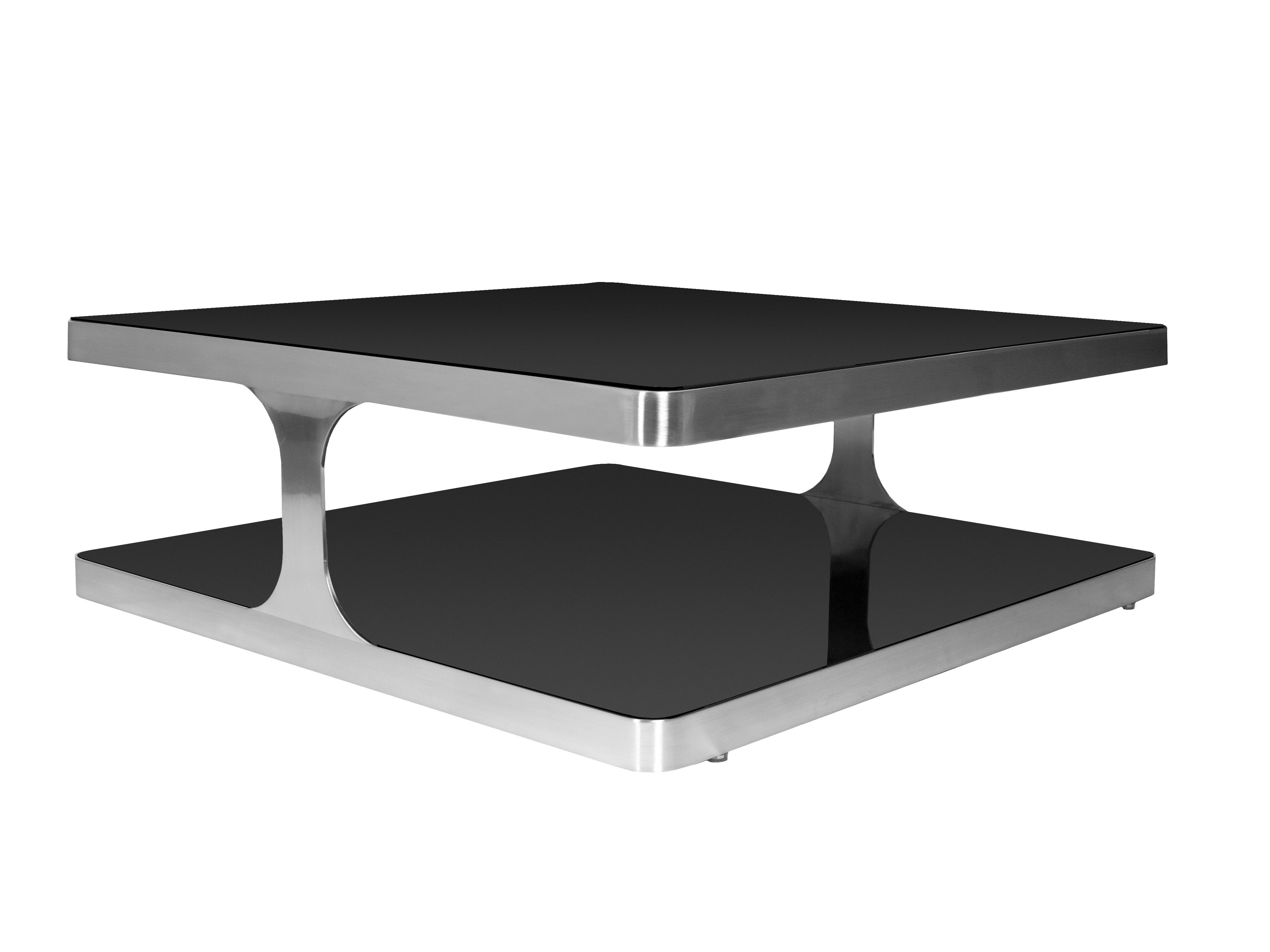 Allan Copley Designs Diego 40 Square Black Glass Top Stainless Steel Coffee Table Stainless Steel Coffee Table Modern Coffee Tables Stone Coffee Table