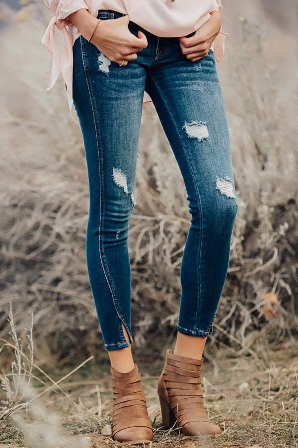 181809656265 Lime Lush Boutique - Dark Wash Distressed Twisted Skinny Jeans, $56.99  (https:/