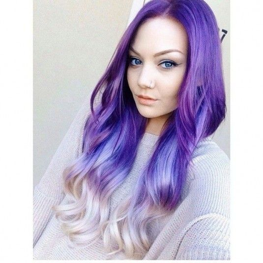 purple ombre hair | and wavy beautiful reverse ombre purple hair from purple to platinum ...