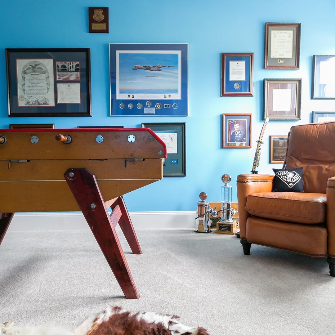 kick back with color in this bold blue game room for the on paint colors for professional office id=73590
