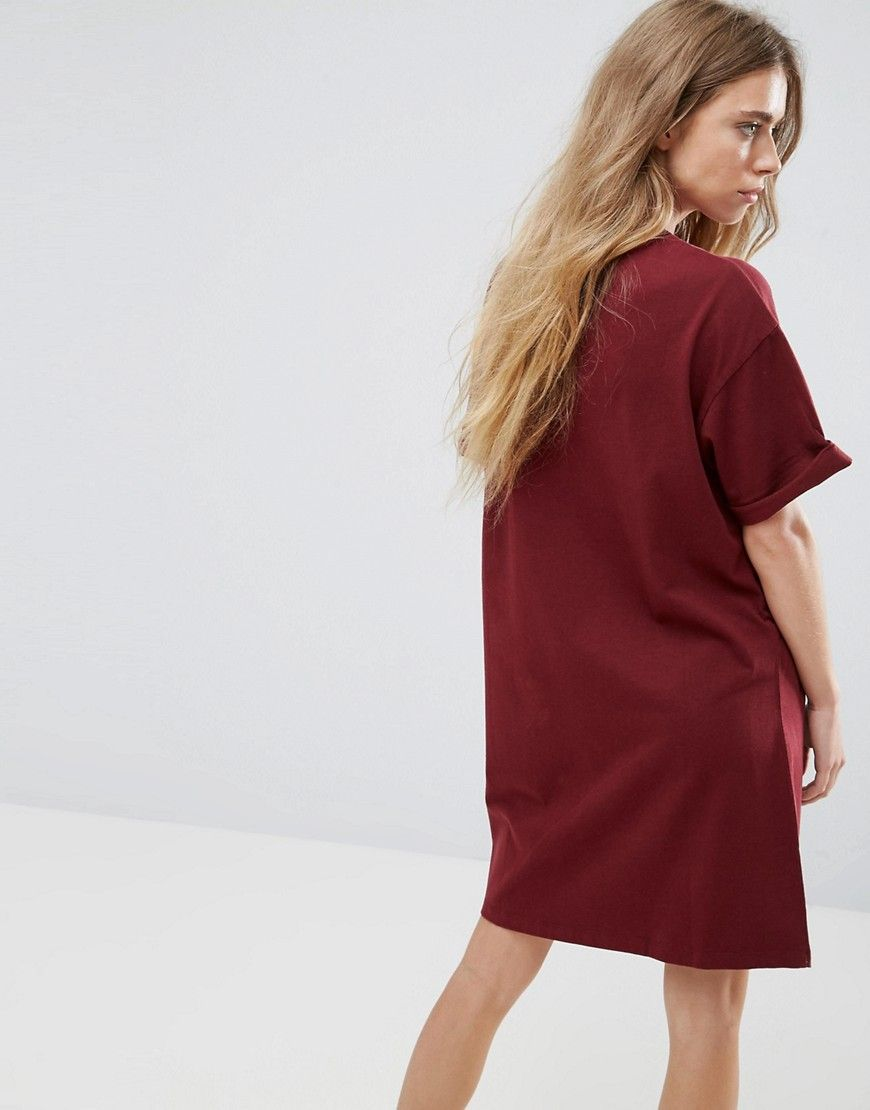 dbdcf385246 ASOS Ultimate T-Shirt Dress with Rolled Sleeves - Red